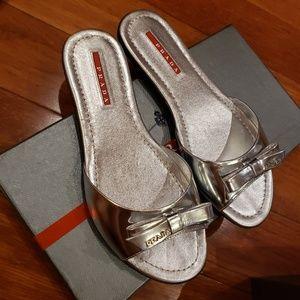 *BRAND NEW* Prada Silver Patent Sandals size 36.5